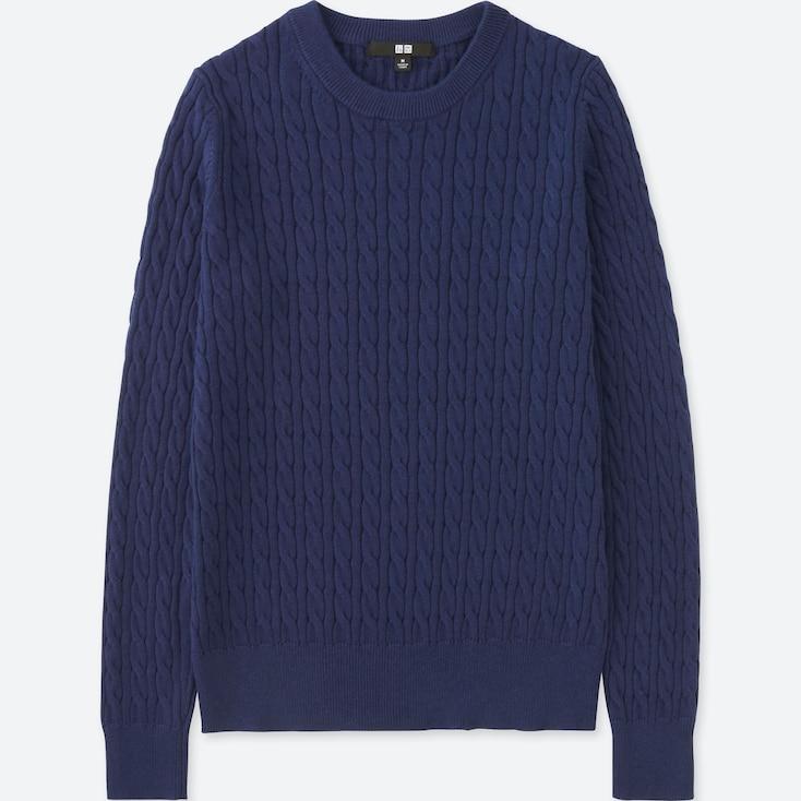 Women Cotton Cashmere Cable Crewneck Sweater, Blue, Large