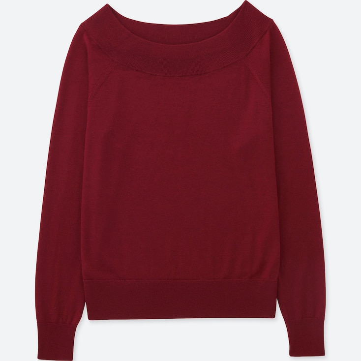 Women Extra Fine Merino Boat Neck Sweater, Red, Large