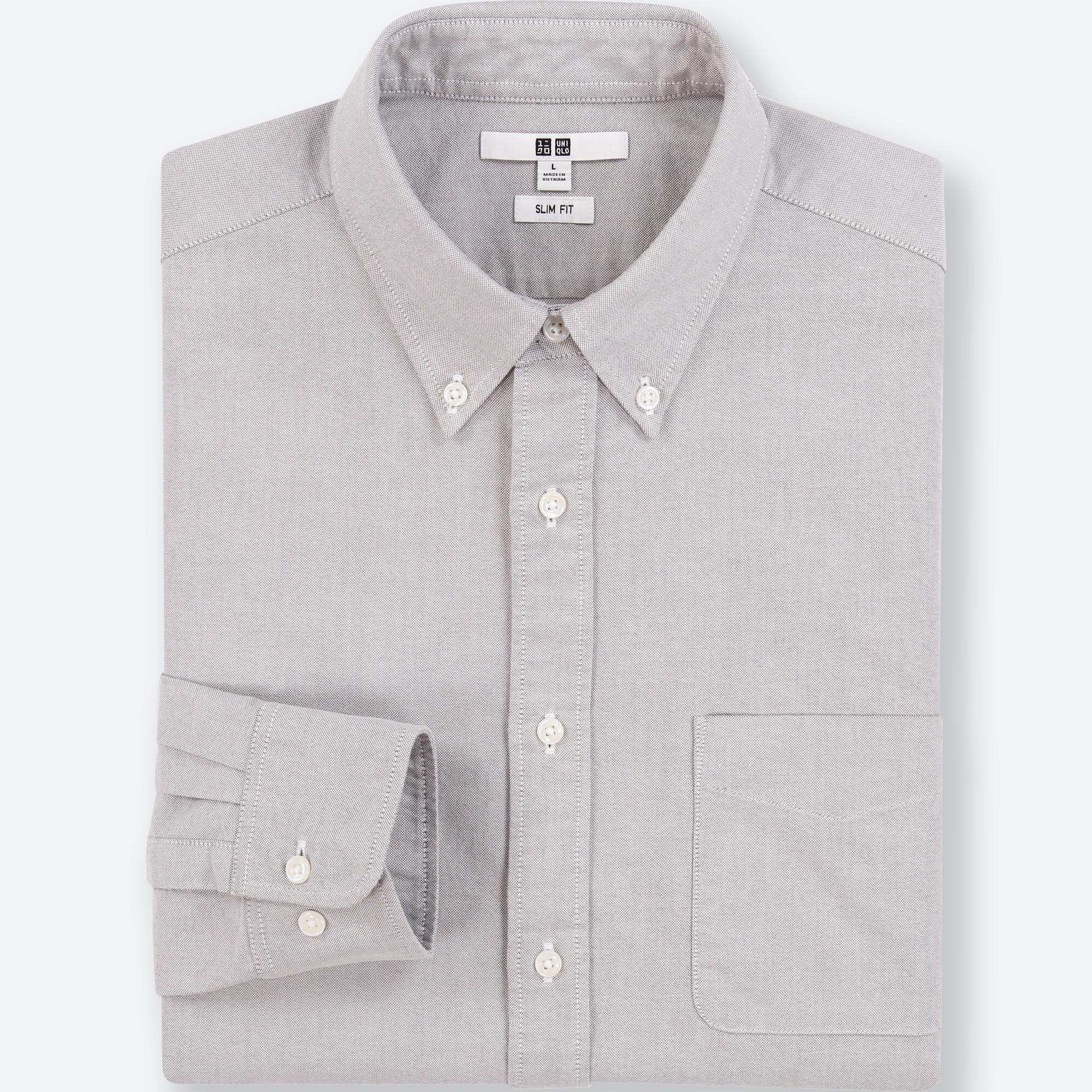 Uniqlo Shirt Blue XL Slim Fit Oxford