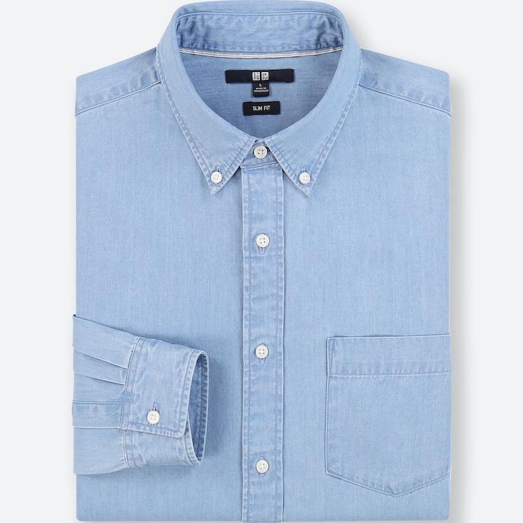 MEN DENIM SLIM-FIT LONG-SLEEVE SHIRT, BLUE, large