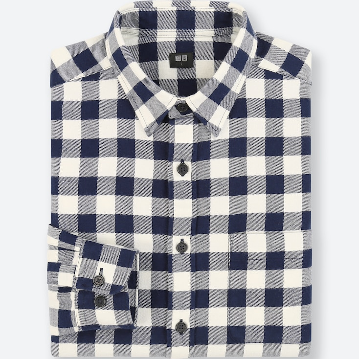 Men Flannel Checked Long-Sleeve Shirt, Navy, Large