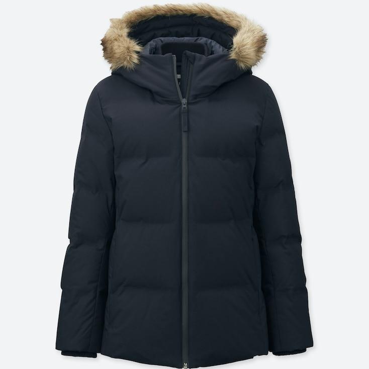Women Seamless Down Jacket, Navy, Large