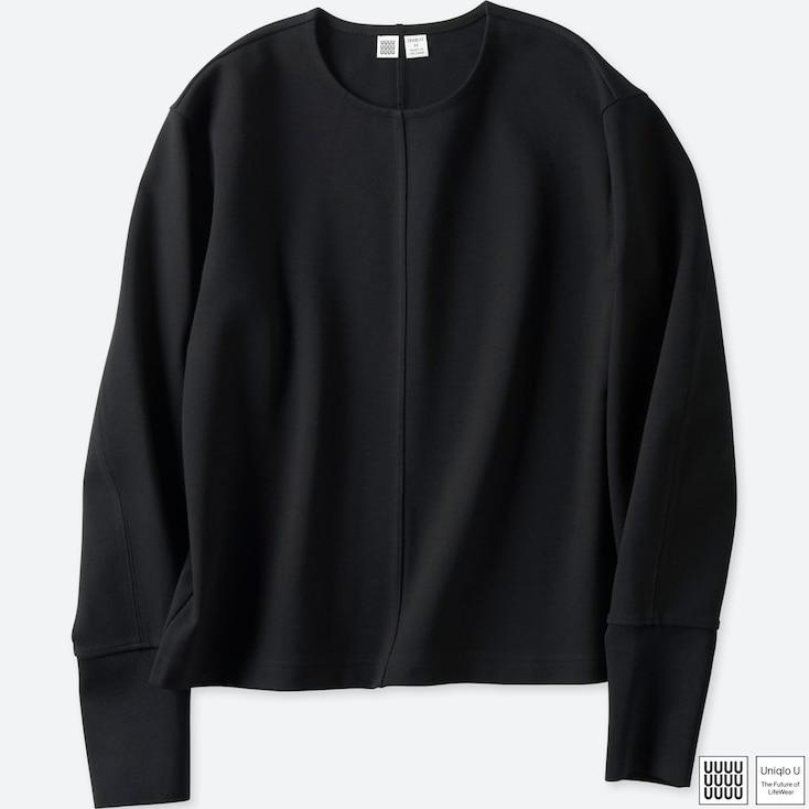 Women U Crewneck Long-Sleeve T-Shirt, Black, Large