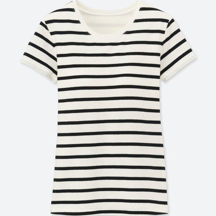 Women Bra Crew Neck Short Sleeve T-Shirt (STRIPED), OFF WHITE, large