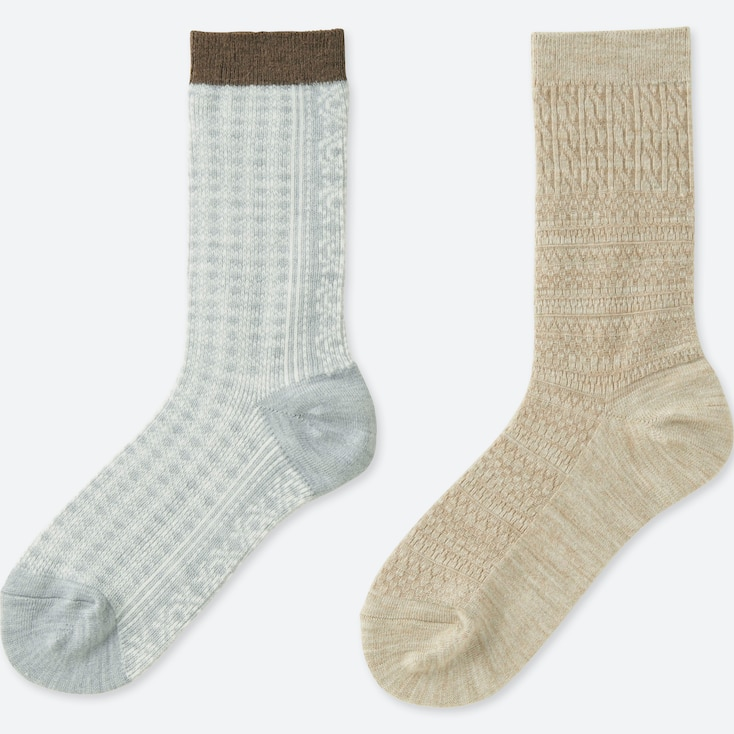 Women Heattech Fair Isle Socks (2 Pairs), Gray, Large