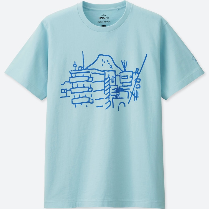 MEN SPRZ NY Short Sleeve Graphic T-Shirt (JASON POLAN), BLUE, large