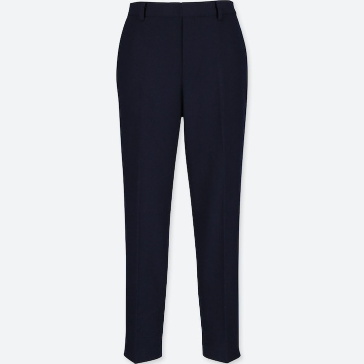 Women Tweed Ankle-Length Pants, Navy, Large