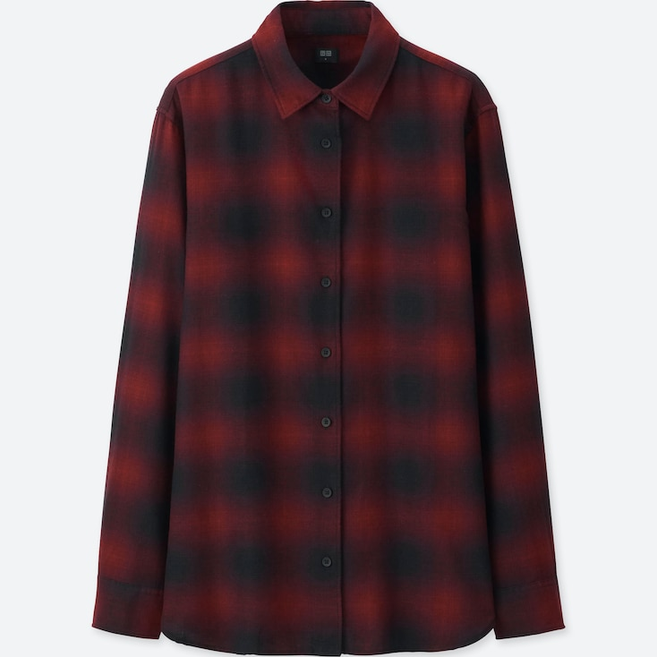 WOMEN FLANNEL CHECKED LONG-SLEEVE SHIRT, RED, large