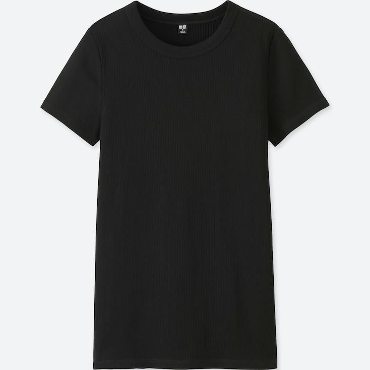 WOMEN SUPIMA® COTTON RIBBED CREW NECK SHORT-SLEEVE T-SHIRT, BLACK, large