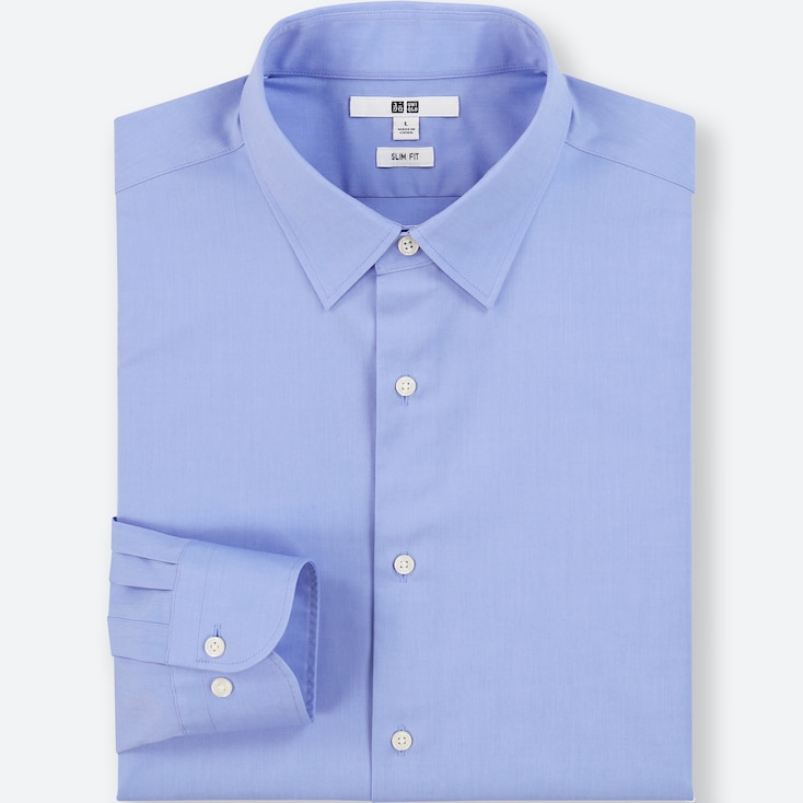 MEN EASY CARE BROADCLOTH SLIM-FIT LONG-SLEEVE SHIRT, BLUE, large