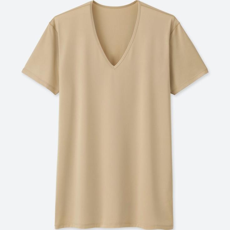MEN AIRism V-NECK SHORT-SLEEVE T-SHIRT, BEIGE, large