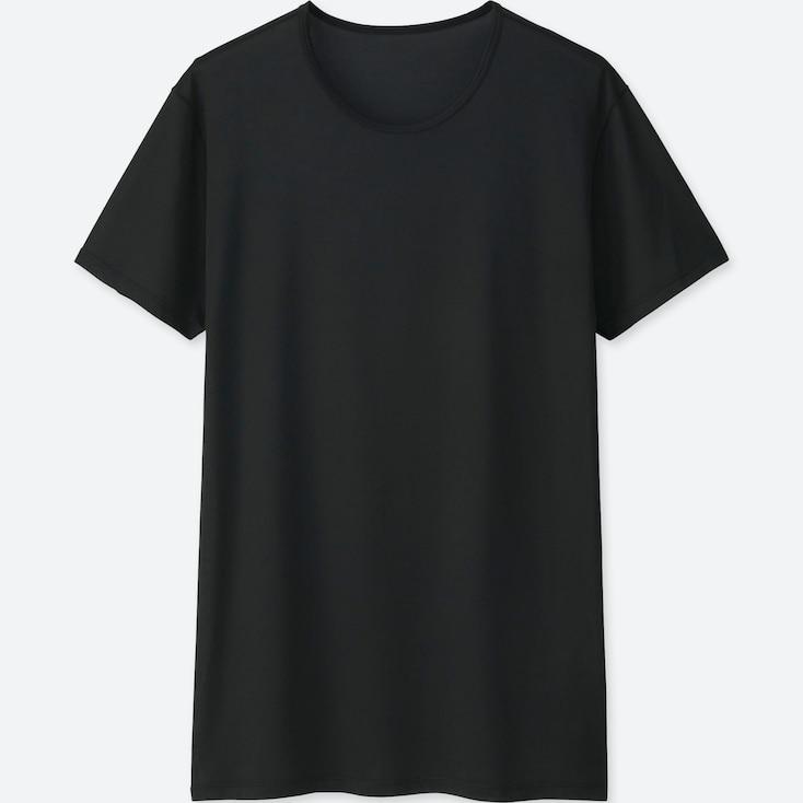 MEN AIRism MESH CREW NECK SHORT-SLEEVE T-SHIRT, BLACK, large