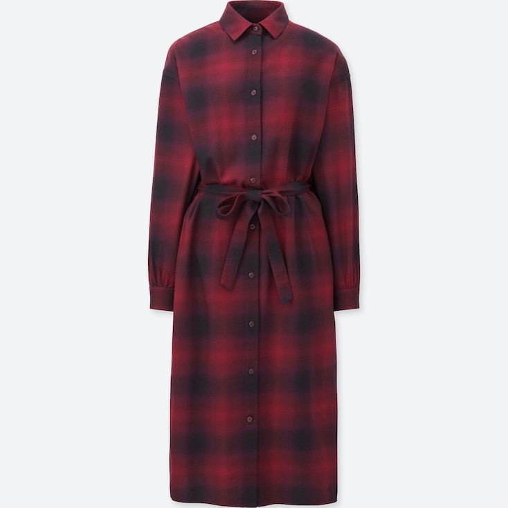 WOMEN FLANNEL CHECKED SHIRT DRESS, WINE, large