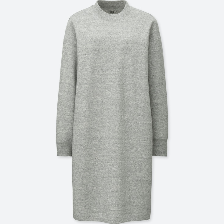 WOMEN SWEATSHIRT DRESS, GRAY, large