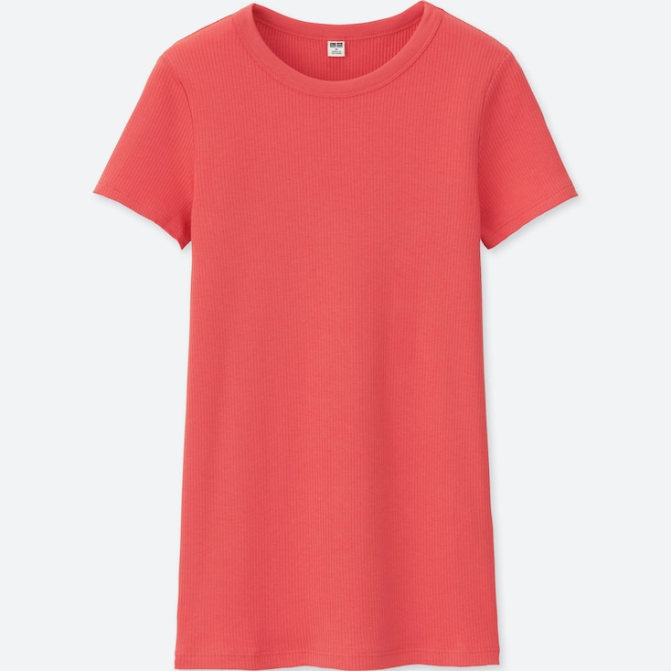 Women Supima® Cotton Ribbed Crewneck Short-Sleeve T-Shirt, Red, Large