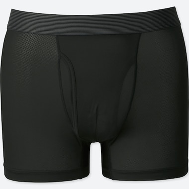 MEN AIRism MESH BOXER BRIEFS, BLACK, medium