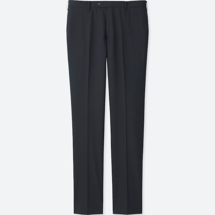 MEN STRETCH WOOL SLIM-FIT FLAT-FRONT PANTS, NAVY, large