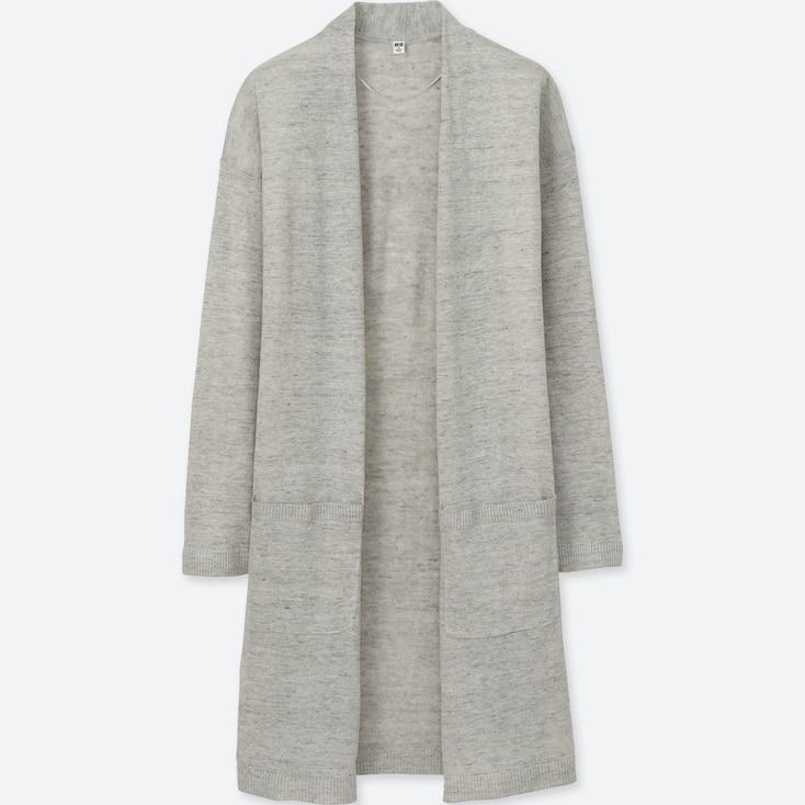 Women Linen Blend Cardigan, Light Gray, Large