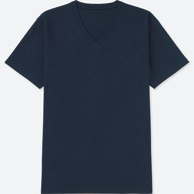 MEN PACKAGED DRY V-NECK SHORT-SLEEVE T-SHIRT, NAVY, large
