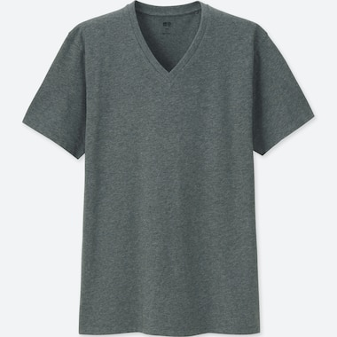 MEN SUPIMA® COTTON V-NECK SHORT-SLEEVE T-SHIRT, DARK GRAY, medium