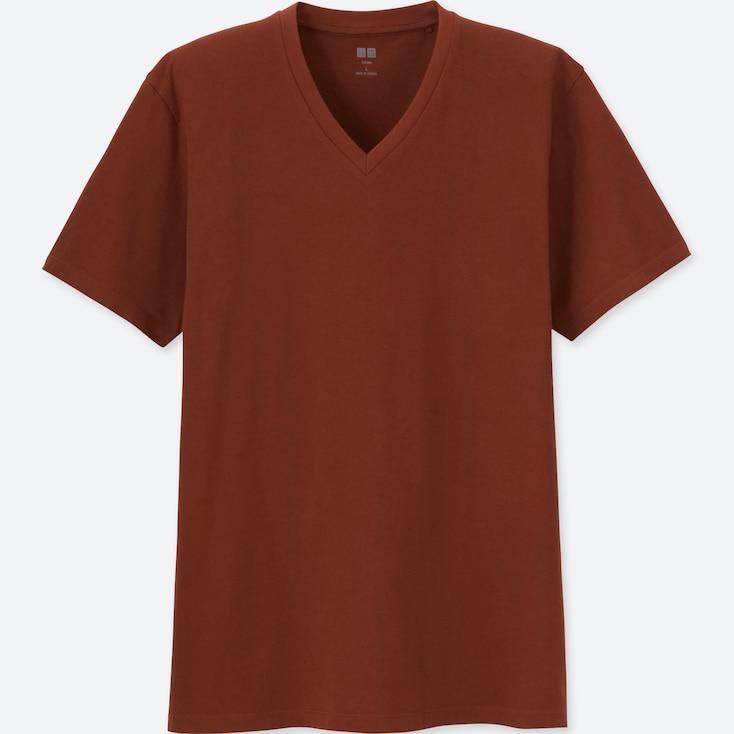 MEN SUPIMA® COTTON V-NECK SHORT-SLEEVE T-SHIRT, DARK ORANGE, large