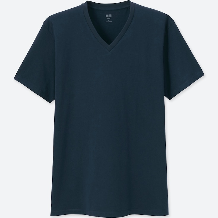MEN SUPIMA® COTTON V-NECK SHORT-SLEEVE T-SHIRT, NAVY, large