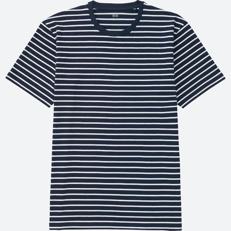 Men Striped Crewneck Short-Sleeve T-Shirt, Navy, Large