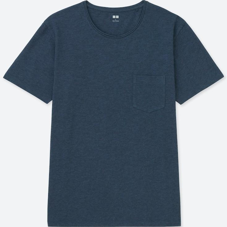 MEN WASHED SLUB CREWNECK SHORT-SLEEVE T-SHIRT, BLUE, large