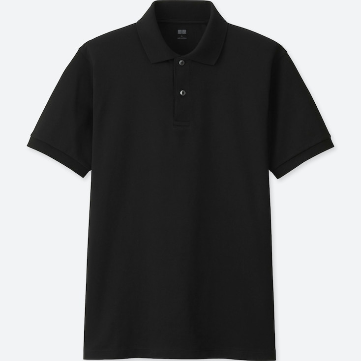 MEN DRY PIQUE SHORT-SLEEVE POLO SHIRT, BLACK, large