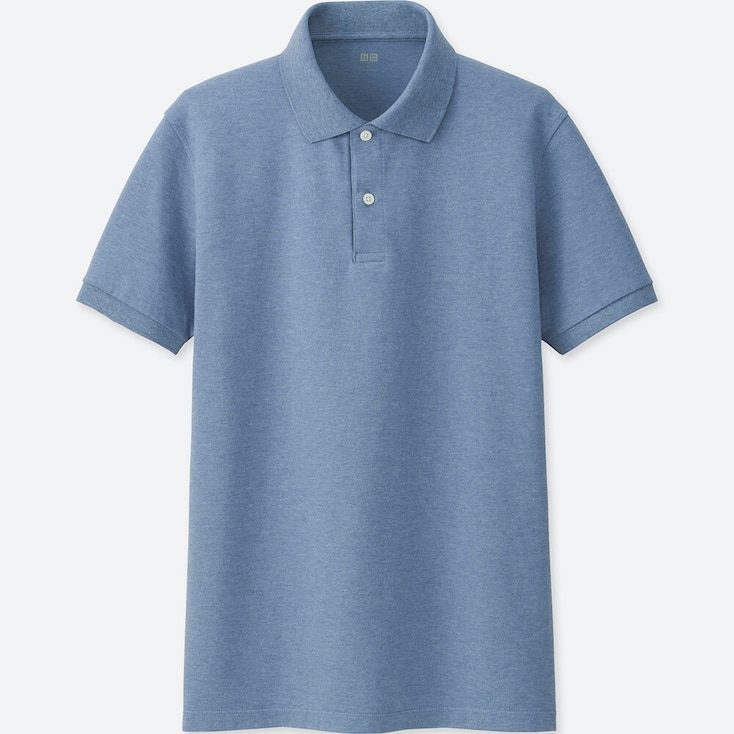 MEN DRY PIQUE SHORT-SLEEVE POLO SHIRT, BLUE, large