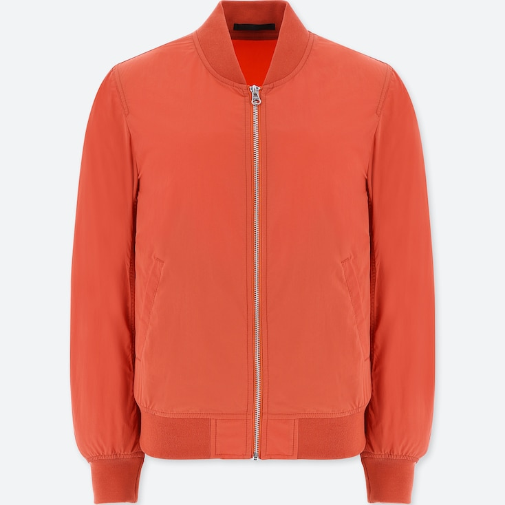 Women Bomber Jacket, Orange, Large
