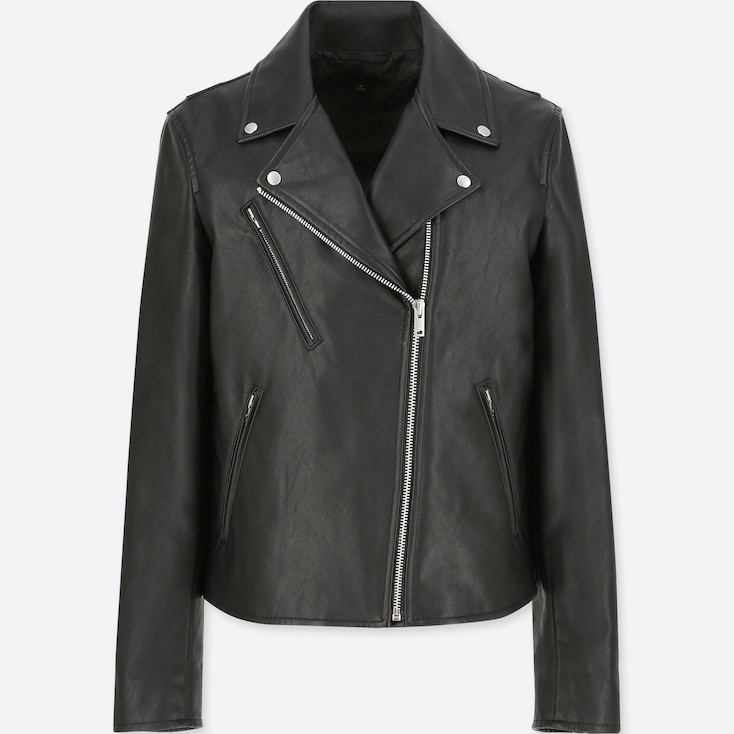 WOMEN SYNTHETIC LEATHER RIDERS JACKET, BLACK, large