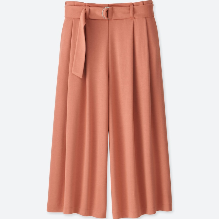 Women Belted Wide Cropped Pants, Pink, Large