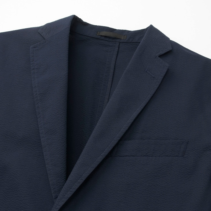 Men Dry Lightweight Seersucker Jacket, Blue, Large