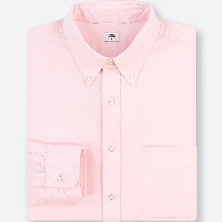 MEN OXFORD REGULAR-FIT LONG-SLEEVE SHIRT (ONLINE EXCLUSIVE), PINK, large