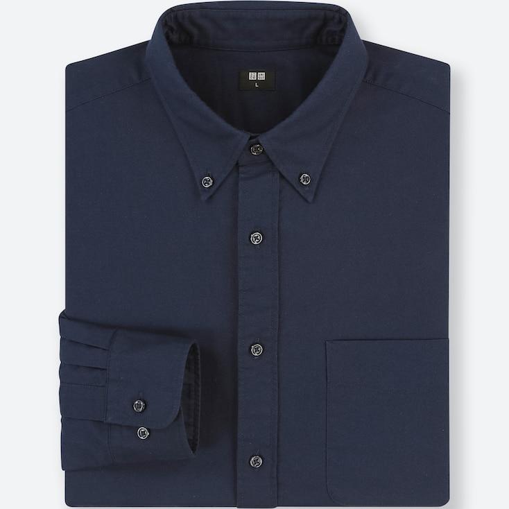 Men Oxford Regular-Fit Long-Sleeve Shirt (Online Exclusive), Blue, Large