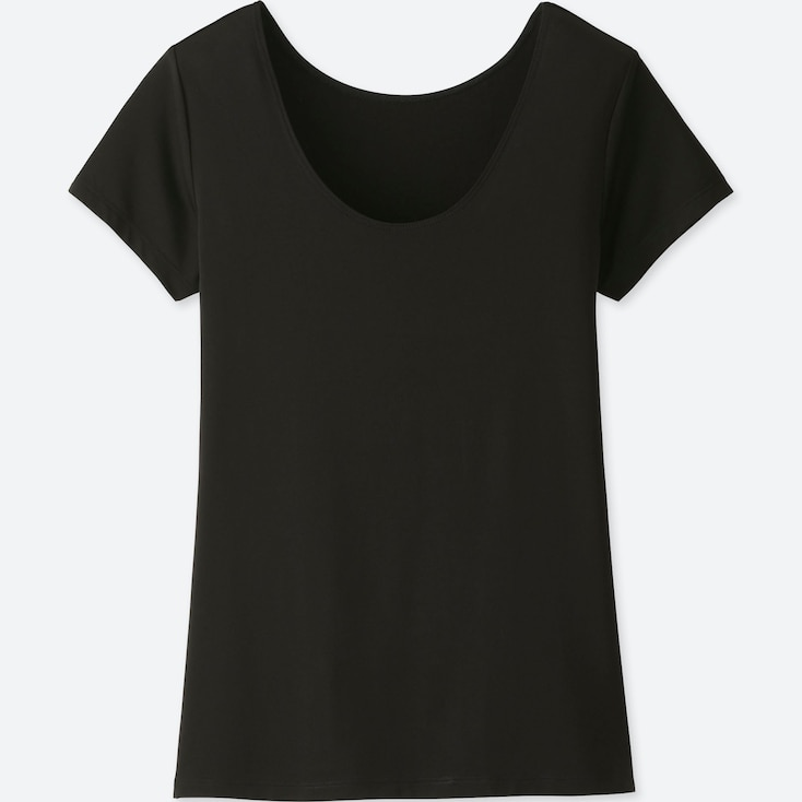 WOMEN AIRism SCOOP NECK SHORT-SLEEVE T-SHIRT, BLACK, large