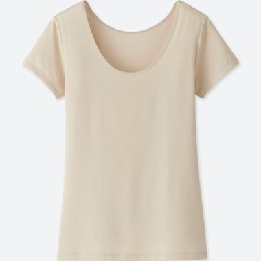 WOMEN AIRism SCOOP NECK SHORT-SLEEVE T-SHIRT, NATURAL, medium