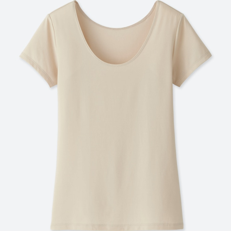 WOMEN AIRism SCOOP NECK SHORT-SLEEVE T-SHIRT, NATURAL, large