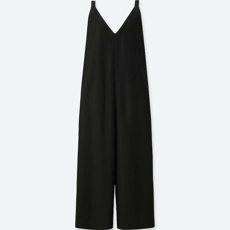 Women Linen Rayon Sleeveless Jumpsuit, Black, Large