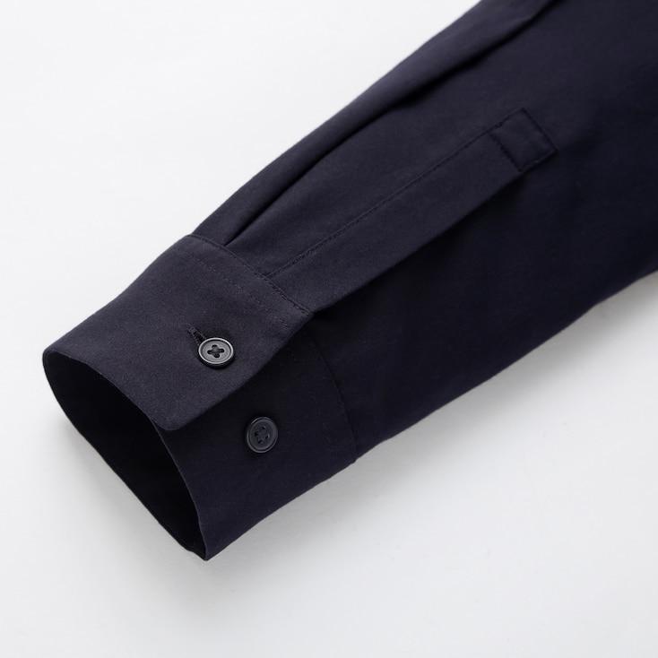 Women Rayon Long-Sleeve Blouse, Navy, Large