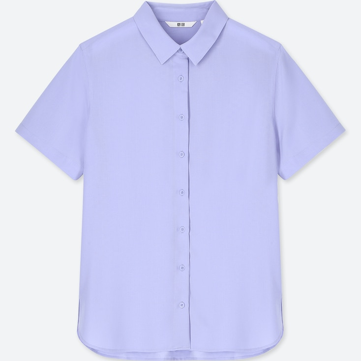 Women Rayon Short-Sleeve Blouse, Blue, Large