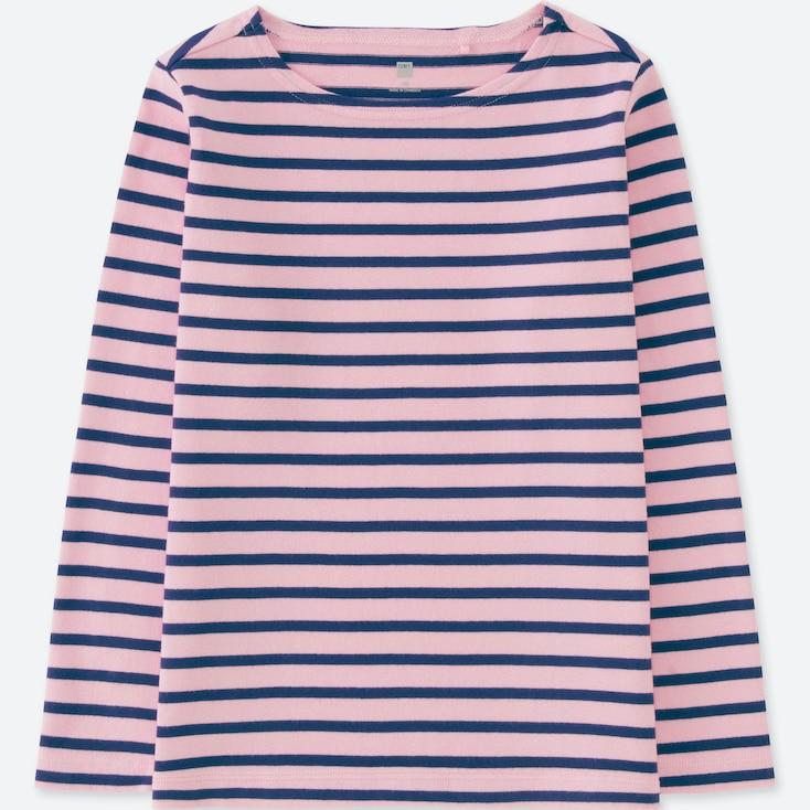 Kids Striped Boat Neck Long-Sleeve T-Shirt, Pink, Large