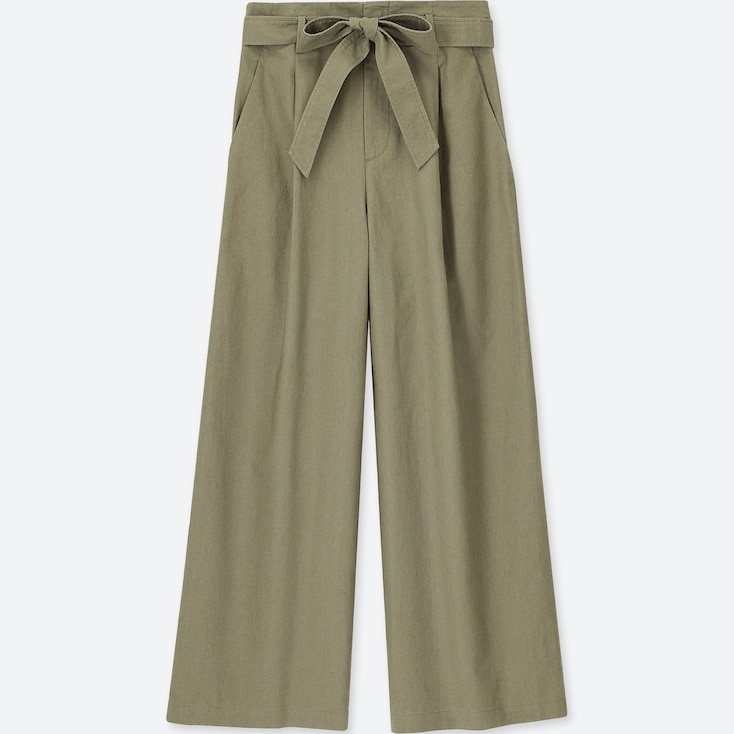 Women Belted Linen Cotton Wide Pants, Olive, Large