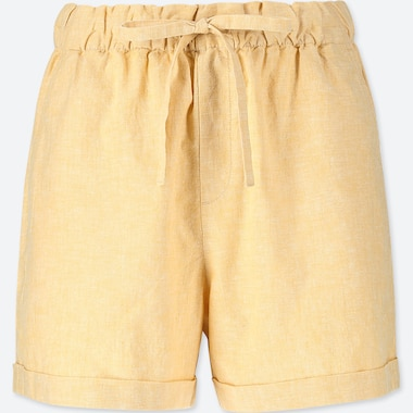 WOMEN COTTON LINEN BLEND RELAXED SHORTS