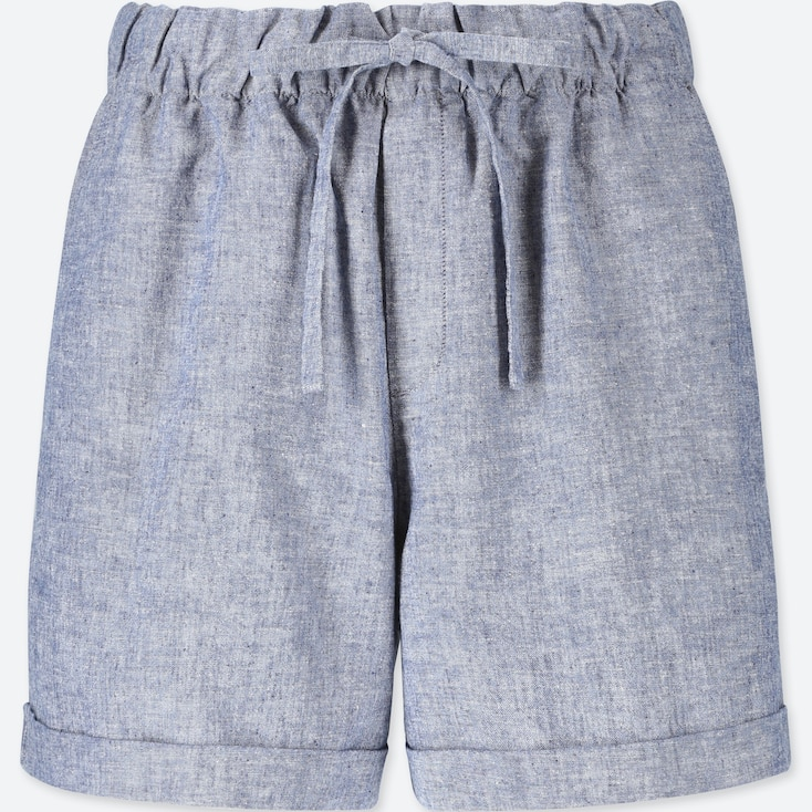 WOMEN COTTON LINEN RELAXED SHORTS, BLUE, large