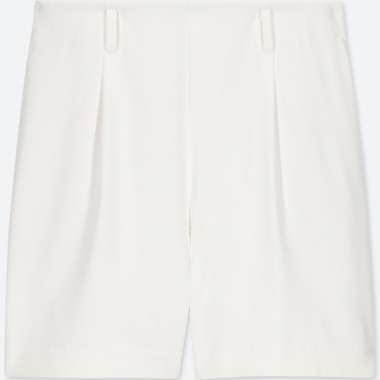 WOMEN DRAPE SHORTS, OFF WHITE, medium
