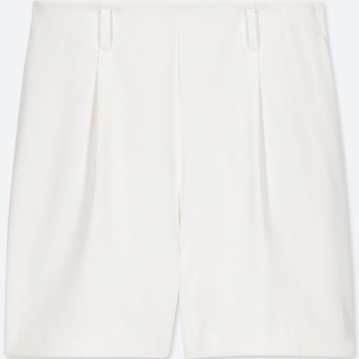WOMEN DRAPE SHORTS, OFF WHITE, large