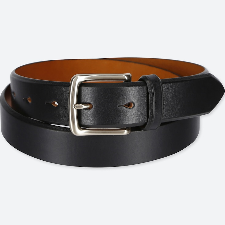 MEN ITALIAN SADDLE LEATHER BELT, BLACK, large
