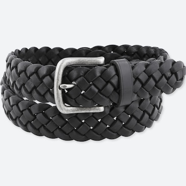 MEN LEATHER WIDE MESH BELT, BLACK, medium